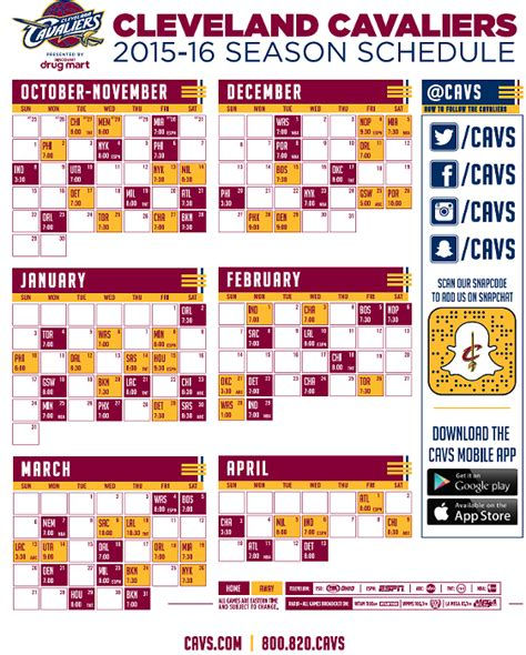 here s the 2015 2016 cleveland cavaliers schedule