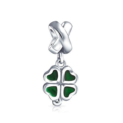 925 Silver Lucky Four Leaf Clover Heart Dangle Bead Fits