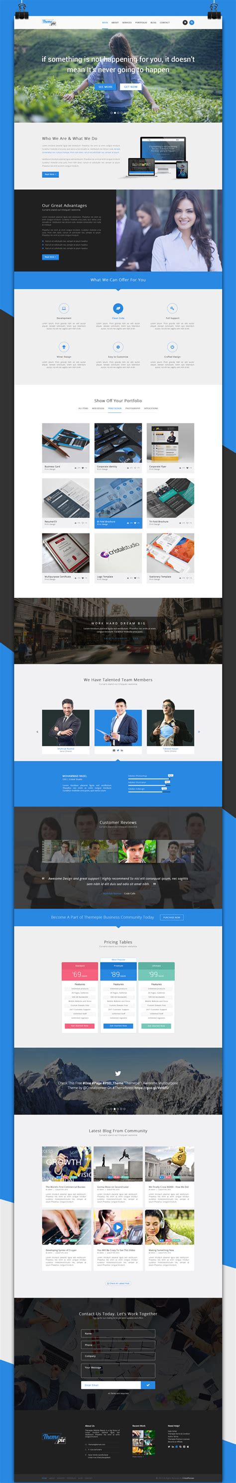 themepie free one page psd web template free download
