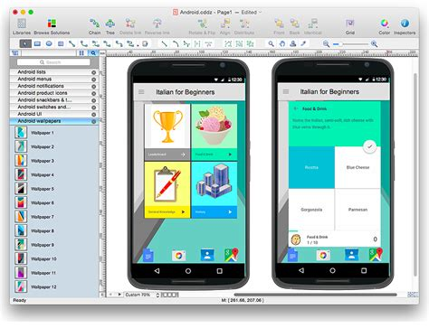 how to design an interface mock up of an android application