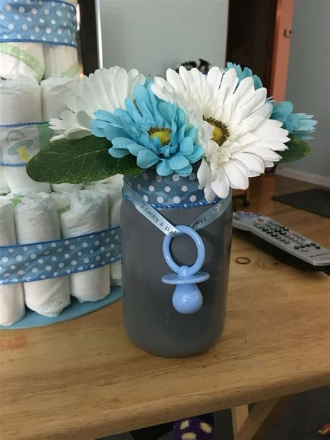 Baby Shower Centerpieces Idea by Finished Jar Centerpiece For Boy Baby Shower My