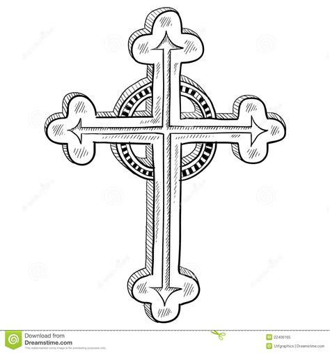 orthodox cross sketch royalty free stock photo image