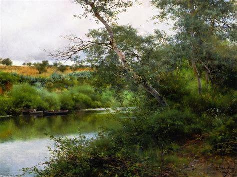 a orillas del rio 0062514628 a orillas del rio alcal 225 oleo en panel de emilio sanchez perrier 1855 1907 spain