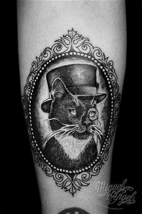 cat tattoo top hat cat w monocle top hat and cameo frame custom tattoo