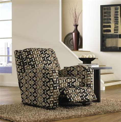 pattern fabric reclining chairs halle accent reclining chair in sahara pattern doe natural