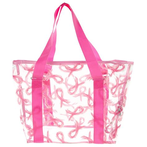 D Renbellony Tote Bag Pink pink ribbon clear tote bag the breast cancer site