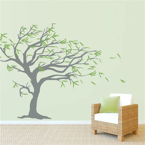 tree sticker for wall tree blowing in the wind wall decal