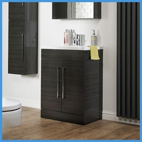 Back To Wall Bathroom Furniture Bathroom Furniture Black Ash Vanity Unit Cabinet Basin Back To Wall Wc Unit Ebay