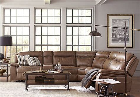 picture  cindy crawford home barton springs brown  pc sectional  reclining sectionals