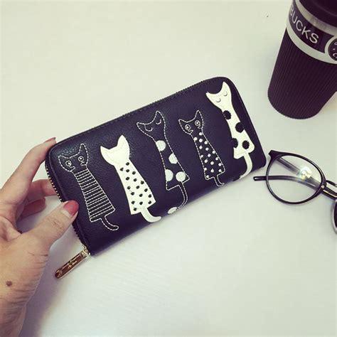 dompet panjang wanita motif kucing black