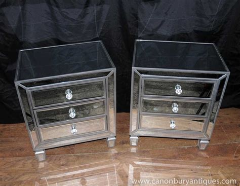 Hayworth Armoire Pair Mirrored Bedside Chests Nightstands Chest Drawers