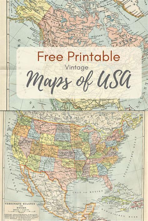 map usa free printable wonderful free printable vintage maps to pillar