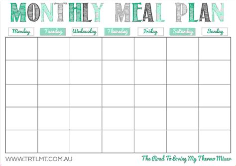 monthly dinner calendar template free printable monthly meal planner template home