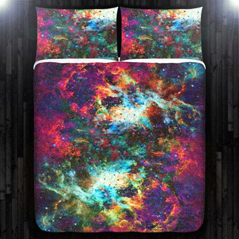 nebula bedding outer space nebula red galaxy duvet cover bedding queen size