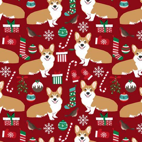wallpaper christmas material corgi christmas fabric xmas holiday dogs fabric dog fabric