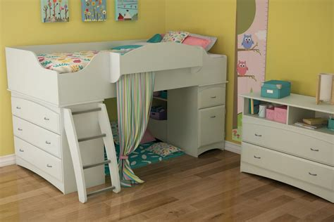 Low Bunk Beds For Toddlers Low White Loft Bunk Bed For With Storage And Ladder Decofurnish
