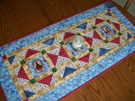 rooster table runner white blue country quilted topper