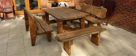 wooden garden table and bench set the rustic wood company quality hand crafted furniture