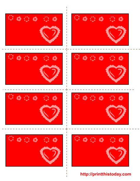 free printable valentine labels with read heart and flowers