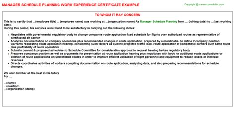 Experience Letter Duties Manager Schedule Planning Work Experience Certificate