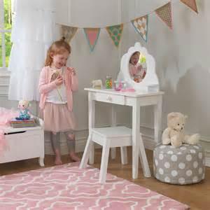coiffeuse en bois et tabouret pour enfant