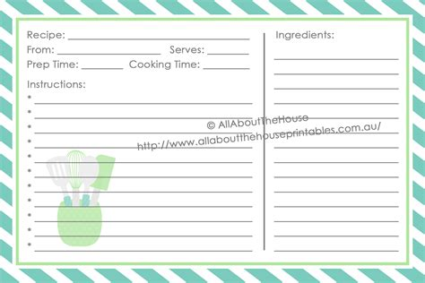 Esl Recipe Card Template by Make Your Own Personalised Printable Recipe Binder