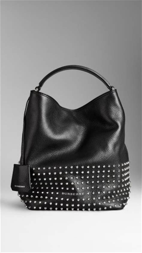 Burberry Studded Hobo by Burberry Medium Studded Leather Hobo Bag In Black Lyst