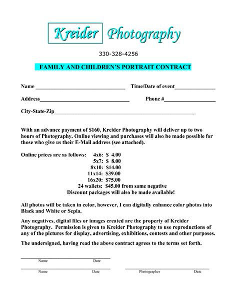 free photography contract templates portrait photography contract template free printable