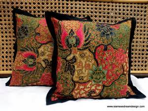 Batik Cushion Covers Balinese Batik Pillow Cushion Cover In Colorful Pink