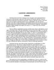 carbohydrates lab report carbohydrates lab report abhishek jain biology 1510
