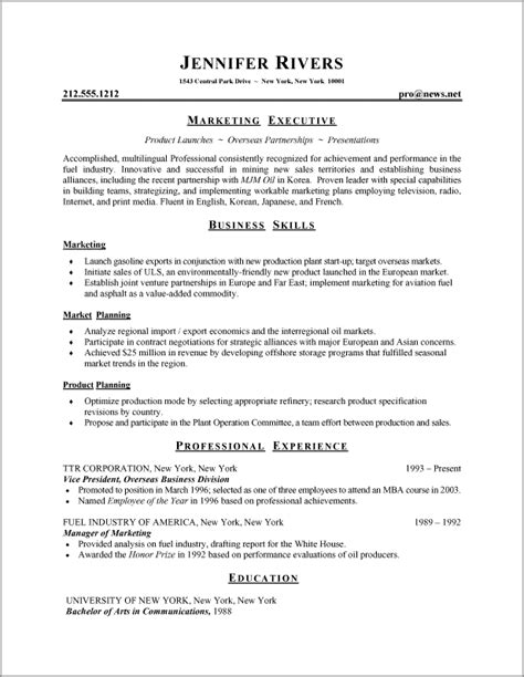 Resume Sle And Format A Resume Exle In The Combination Resume Format