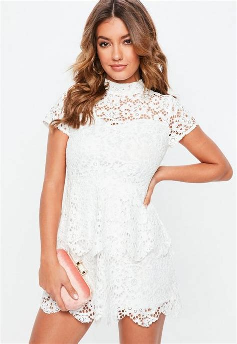 petite white short sleeve lace high neck dress missguided