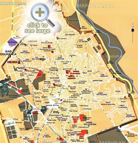top attractions map pin marrakech tourist map on