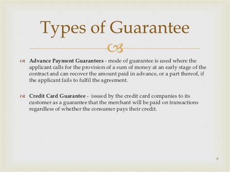 Sle Letter Of Guarantee For Advance Payment Guarantees And Co Acceptance