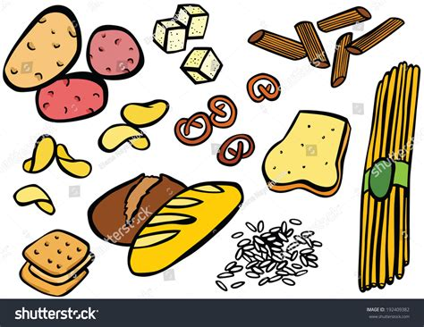 carbohydrates symbol carbohydrate foods set stock photo 192409382