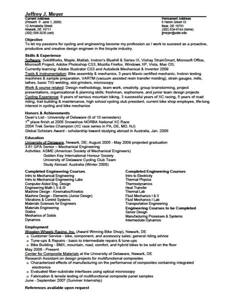 mechanical engineering resume example
