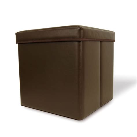 Collapsible Faux Leather Storage Ottoman Cube Brown Ebay