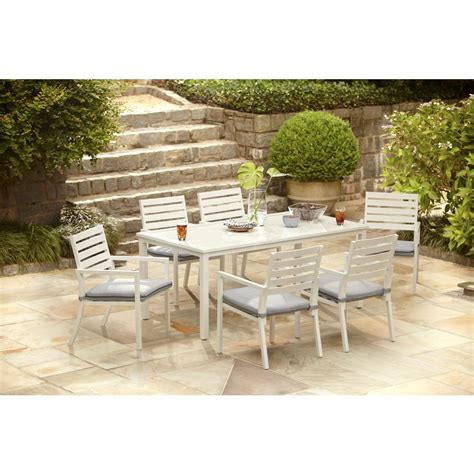 Home Depot Outdoor Patio Dining Sets Hton Bay Blue Springs 7 Patio Dining Set With Blue Dot Cushions Shop Your Way