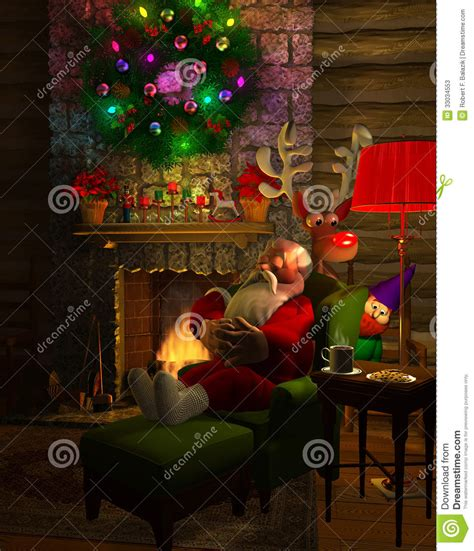 Santa Fireplace Picture by Snoozing Santa Stock Illustration Image Of Lights Logs