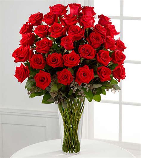 Red Flower Vase 36 Stems Red Rose Arrangement Flower Co