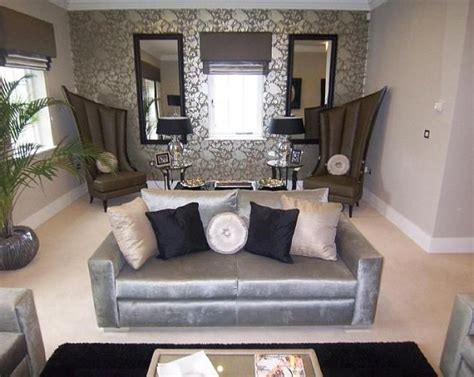 Grey And Black Chair Design Ideas Photo Of Designer Grey Silver Metallic Living Room Lounge With Pattern Wallpaper And Chairs