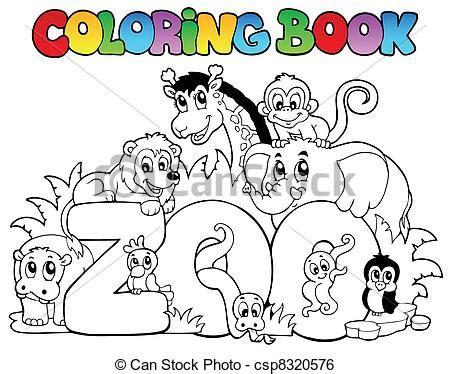 Clip Art Vector van Kleuren, boek, dierentuin