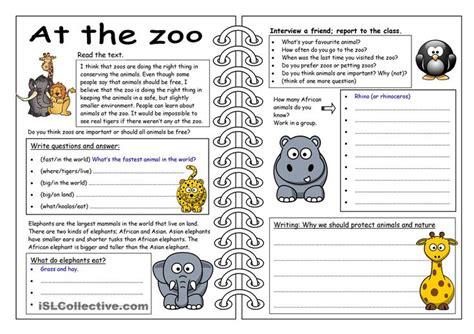 four skills worksheet at the zoo worksheet free esl