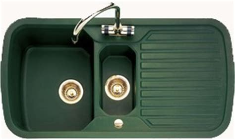 green kitchen sinks 1 5 bowl green sink with brass tap waste rangemaster