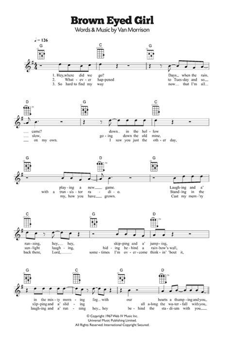 printable lyrics for brown eyed girl brown eyed girl sheet music by van morrison ukulele 120242