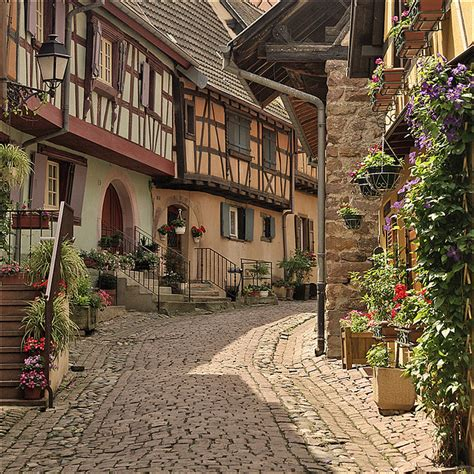 quaint city typical alley in eguisheim medieval france and alsace