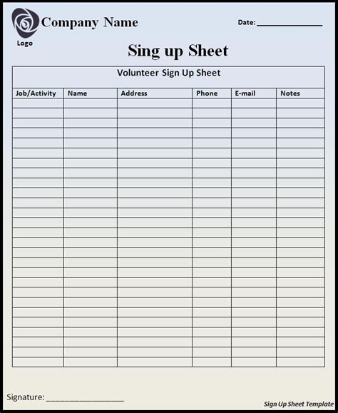Customizable Printable Sign Up Sheets Templates Right Above This Sign Wejoinin Signup Yousign Free Printable Sign In Sheet Template