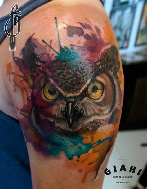 owl watercolor tattoo wide eyed owl watercolor on guys arm best design