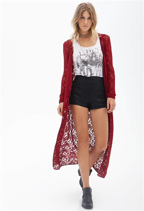 Cardigan Maxi Stella forever 21 floral lace maxi cardigan in lyst