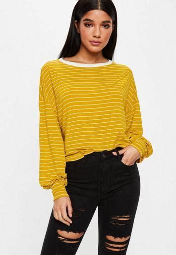 mustard yellow dropped shoulder striped top missguided